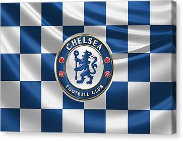 Chelsea F C - 3 D Badge Over Flag Canvas Print