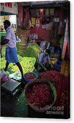 Canvas Print featuring the photograph Chennai Flower Market Busy Morning by Mike Reid