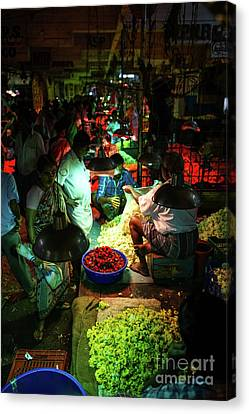 Canvas Print featuring the photograph Chennai Flower Market Stalls by Mike Reid