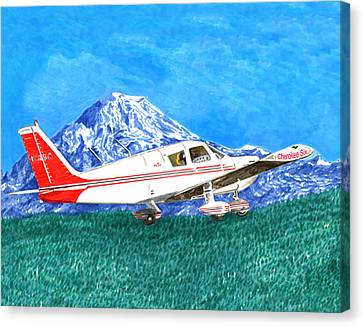 Cherekee Six Circling Mount Rainier Canvas Print by Jack Pumphrey