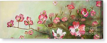 Canvas Print featuring the painting Cherokee Dogwood - Brave- Blushing by Jan Dappen