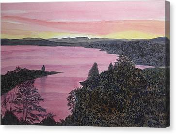 Canvas Print featuring the painting Cherokee Lake Sunset by Joel Deutsch