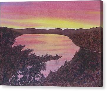 Canvas Print featuring the painting Cherokee Lake Sunset Number Seven by Joel Deutsch