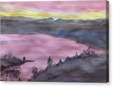 Canvas Print featuring the painting Cherokee Lake - Watercolor Sketch  by Joel Deutsch