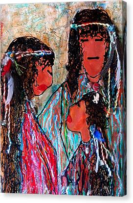 Canvas Print featuring the painting Cherokee Trail Of Tears Brave Family by Laura  Grisham