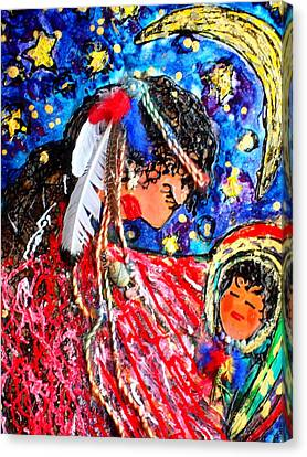 Canvas Print featuring the painting Cherokee Trail Of Tears Mother And Child by Laura  Grisham