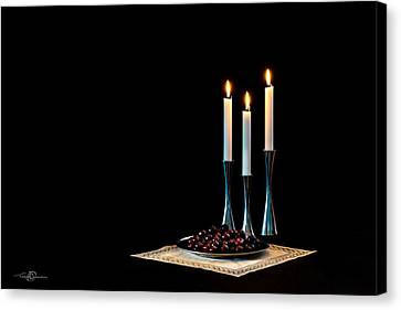 Cherries And Candles In Steel Canvas Print by Torbjorn Swenelius
