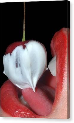 Cherries And Cream Canvas Print by Joann Vitali