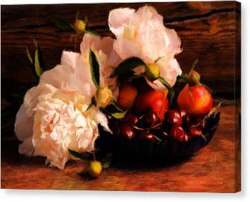 Cherries And Peonies  Canvas Print