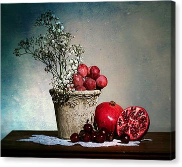 Cherries And Pommegranates Canvas Print