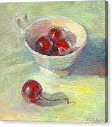 Cherries In A Cup On A Sunny Day Painting Canvas Print by Svetlana Novikova