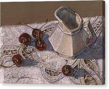 Cherries N Cream Canvas Print by L Diane Johnson