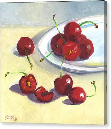 Canvas Print featuring the painting Cherries On A Plate by Susan Thomas