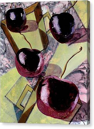 Cherries On Flat Homeware Canvas Print by Evguenia Men