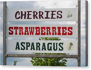 Cherries Strawberries Asparagus Roadside Sign Canvas Print by Steve Gadomski