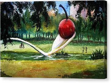 Cherry And Spoon Canvas Print
