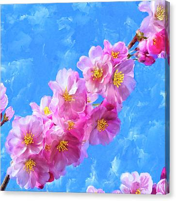 Canvas Print featuring the painting Cherry Blossom Pink - Impressions Of Spring by Mark Tisdale