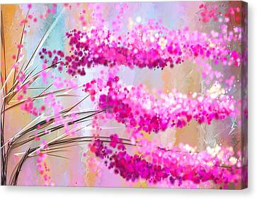 Cherry Tree Canvas Print - Cherry Blossoms Impressionist by Lourry Legarde