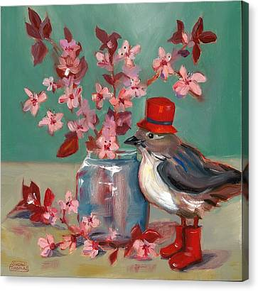 Canvas Print featuring the painting Cherry Blossoms by Susan Thomas