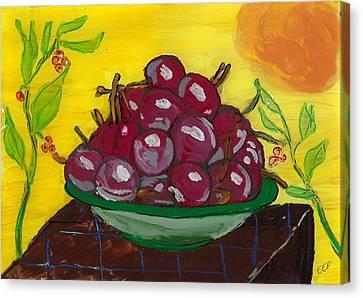 Cherry Bowl Canvas Print by Enrico Pischiera