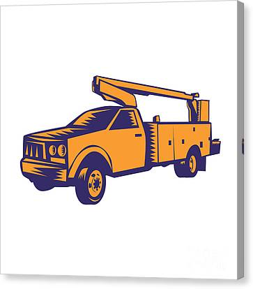 Linocut Canvas Print - Cherry Picker Mobile Lift Truck Woodcut by Aloysius Patrimonio
