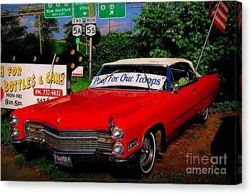 Cherry Red American Patriot 1966 Cadillac Coupe De Ville Canvas Print by Peter Gumaer Ogden