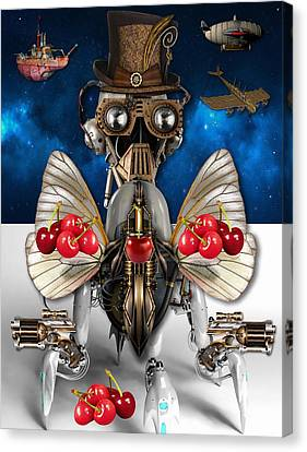Cherry Robot 1 Art Canvas Print by Marvin Blaine
