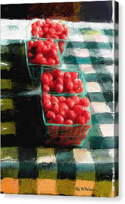 Farm Stand Canvas Print - Cherry Tomato Basket by RG McMahon