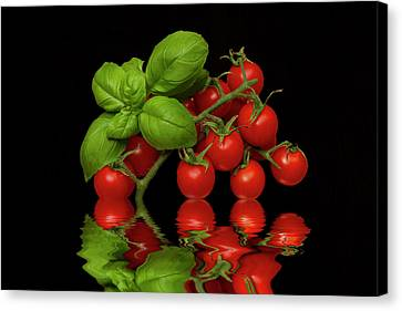 Canvas Print featuring the photograph Cherry Tomatoes And Basil by David French