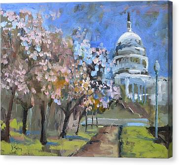 Canvas Print featuring the painting Cherry Tree Blossoms In Washington Dc by Donna Tuten