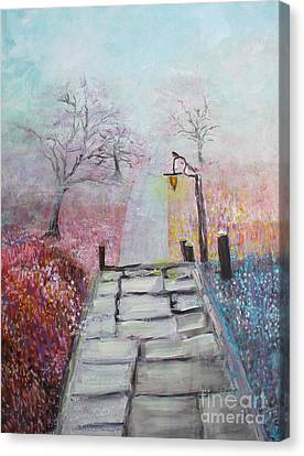Canvas Print featuring the painting Cherry Trees In Fog by Donna Dixon