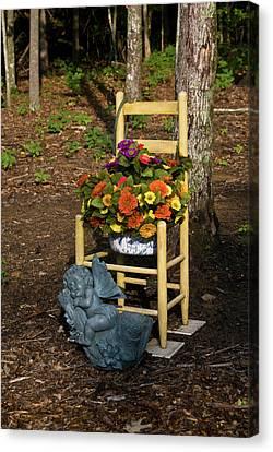 Cherub And Chair Canvas Print by Douglas Barnett