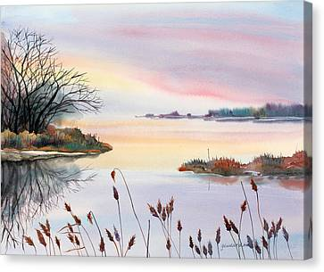 Canvas Print featuring the painting Chesapeake Bay Sunset by Yolanda Koh