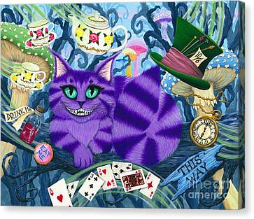 Cheshire Cat - Alice In Wonderland Canvas Print by Carrie Hawks