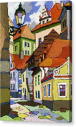 Czech Republic Canvas Print - Chesky Krumlov Masna Street 1 by Yuriy  Shevchuk