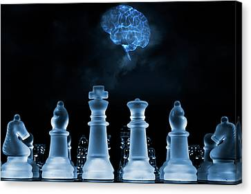 Chess Game And Human Brain Canvas Print by Christian Lagereek