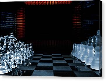 Canvas Print featuring the photograph Chess Game Performed By Artificial Intelligence by Christian Lagereek