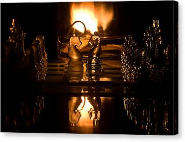 Chess Knights And Flame Canvas Print