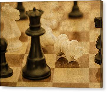 Chess Pieces On Board Canvas Print by Design Turnpike