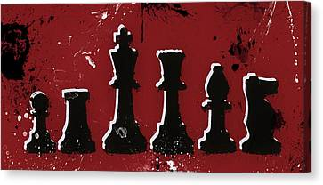Chess Pieces Paint Splatter Canvas Print