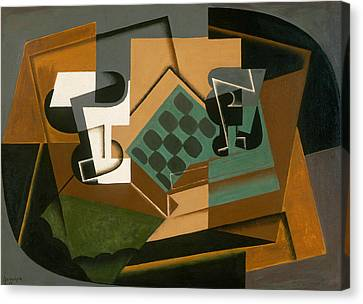 Chessboard, Glass, And Dish Canvas Print by Juan Gris