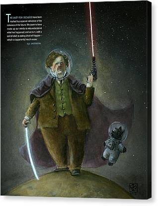 Chesterton In Space Canvas Print by Theodore Schluenderfritz