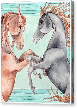 Chestnut And Black Horses On Turquoise Canvas Print by Suzanne Joyner