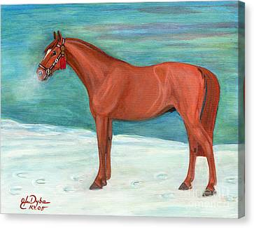 Polish Folk Art Canvas Print - Chestnut Horse by Anna Folkartanna Maciejewska-Dyba