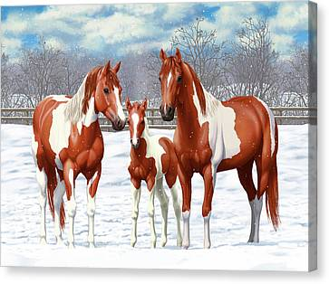 Chestnut Horse Canvas Print - Chestnut Paint Horses In Winter Pasture by Crista Forest