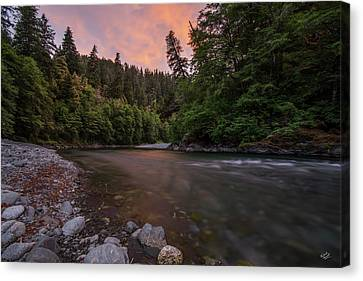 Canvas Print featuring the photograph Chetco River Sunset by Leland D Howard