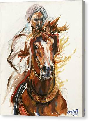 Morocco Canvas Print - Cheval Arabe Monte En Action by Josette SPIAGGIA