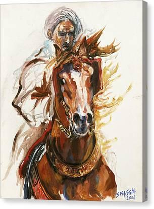 Cheval Arabe Monte En Action Canvas Print by Josette SPIAGGIA