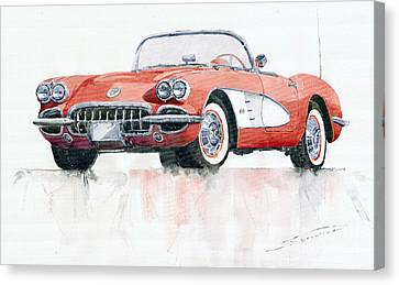 Chevrolets Canvas Print - Chevrolet Corvette C1 1960  by Yuriy  Shevchuk