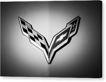White Chevy Canvas Print - Chevrolet Corvette Emblem -0406bw by Jill Reger